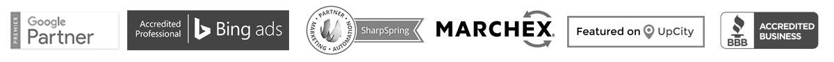 Partners - Bing Ads, Google Partner, Marchex, SharpSpring, UpCity, BBB - A+ Rating